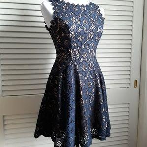 Jodi Kristopher Blue Lace A-Line Dress sz 3